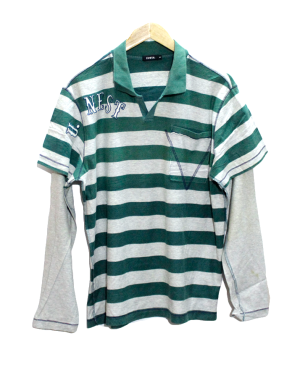 Edwin T shirt White & Green line Round Neck with Double sleeves Cotton T-Shirt