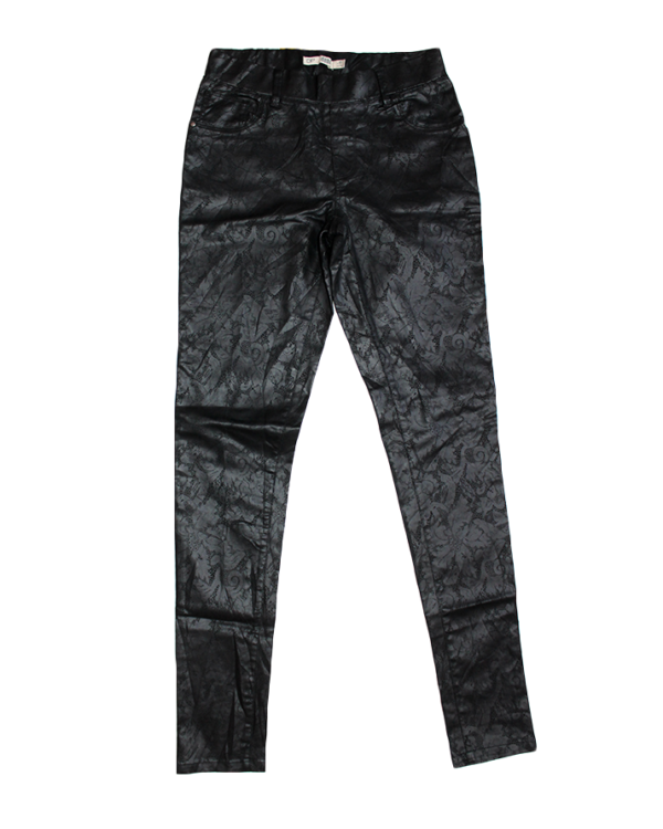 Denim Casual Fabric Print Black Leather Jeans For Women