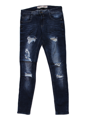 Denim Casual Damage Style Blue Jeans For Women