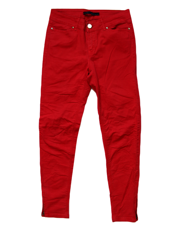 Zara Casual Plain Red Jeans For Women