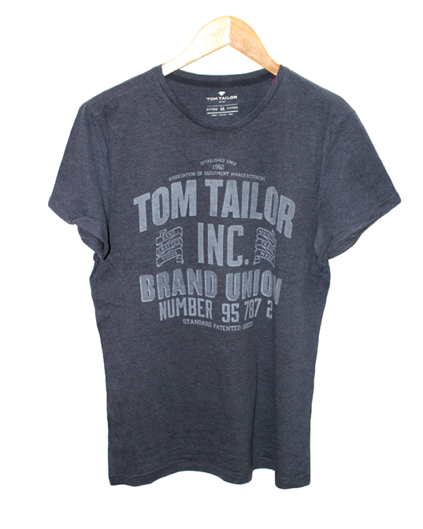 Tomtailor Tshirt Brand Union Simple Style Print Round Neck Cotton T-Shirt For Men