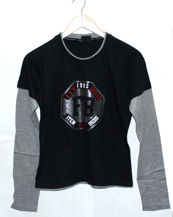 Fubuthe Raw 1992 Print with Double Sleeves Style Round Neck Cotton T-Shirt For Men