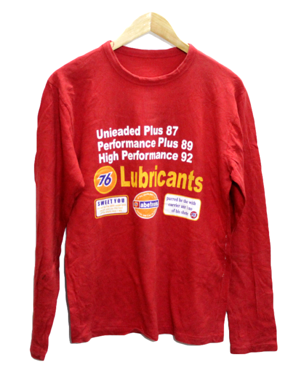 Lubricant 76 Printed Front & Back Round Neck Cotton T-Shirt