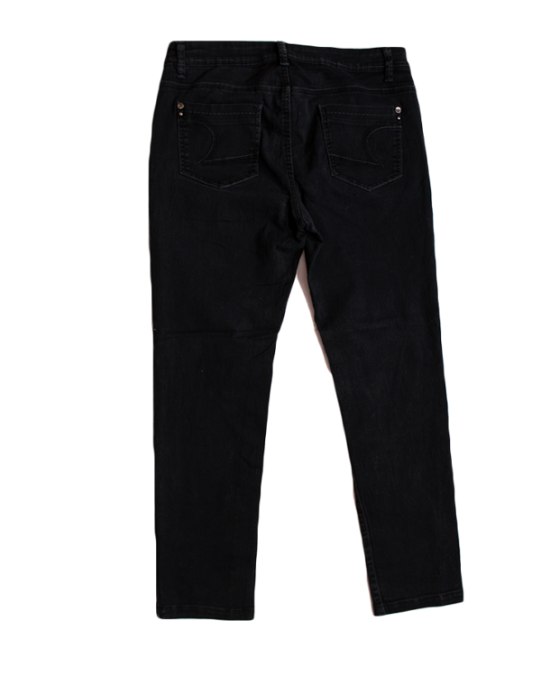Re Slim Casual Plain Black Jeans For Women