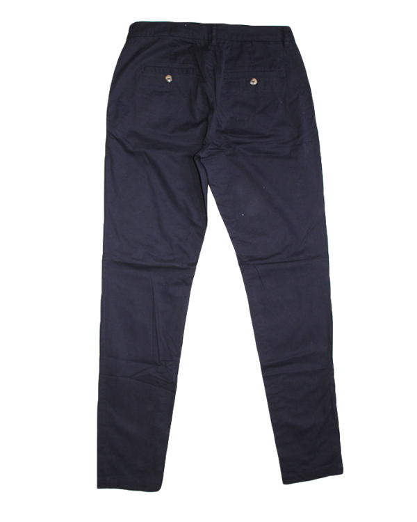 L.O.G.G. Casual Plain Navy Blue Cotton Jeans For Women
