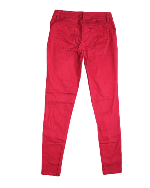 Skinny Casual Plain Red Cotton Jeans For Women