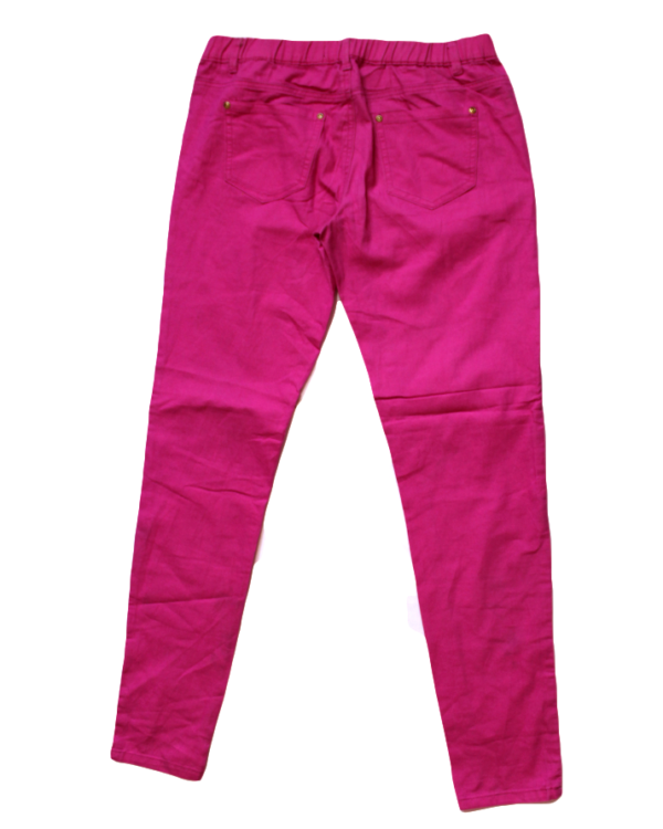 Jegging Casual Plain Magenta Cotton Jeans For Women