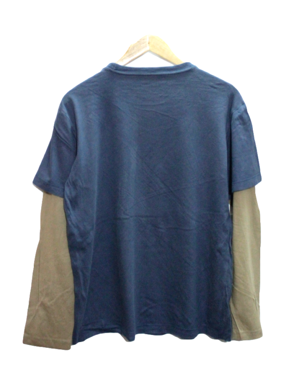 United Design Tshirt Sky Blue with Cream Slevess And Printed Front Round Neck Cotton T-Shirt
