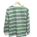 Casual Four Strips Color Fabric Round Neck Cotton T-Shirt