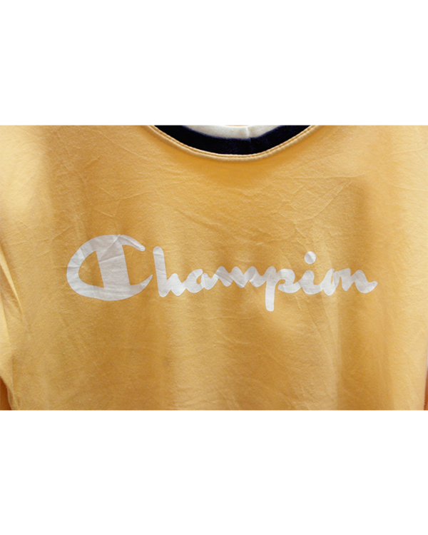 Champion Printed Yellow Cotton T-Shirt