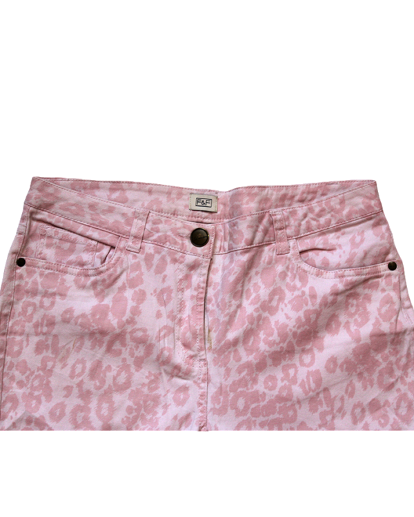 F&F Casual Fabric Print Pink Cotton Jeans For Women