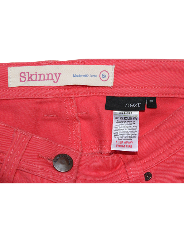 Skinny Casual Plain Pink Cotton Jeans For Women