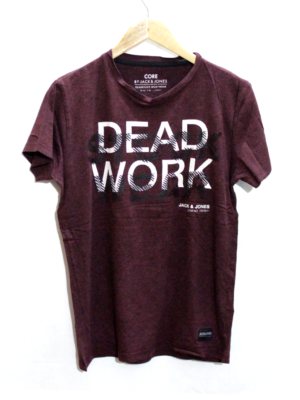 Decent Dead Work Print Round Neck Cotton T-Shirt