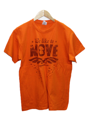B & C Casual Printed Orange Half Sleeves Original Cotton T-Shirt