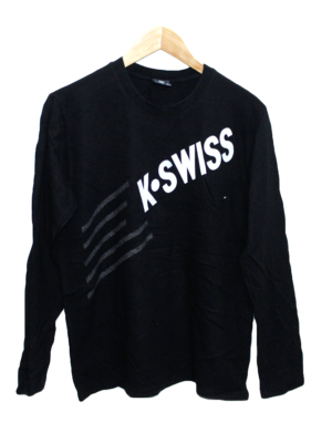 K-Swiss Casual Printed Black Full Sleeves Original Cotton T-Shirt