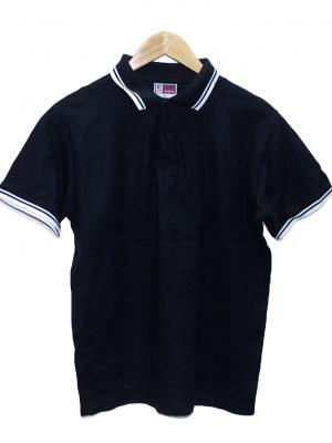 US Basic Casual Polo Black Half Sleeves Original Cotton T-Shirt