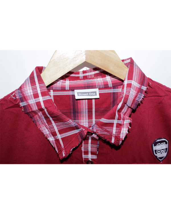 Street One Casual Printed Maroon Half Sleeves Original Cotton T-Shirt