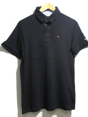 Tommy Hilfiger Casual Black Printed Polo Half Sleeves Original Cotton T-Shirt