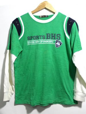 Basic House Casual Green Printed Sport Full Sleeves Original Cotton T-Shirt