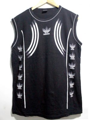 Adidas Casual Black Printed Sleevesless Original Cotton T-Shirt