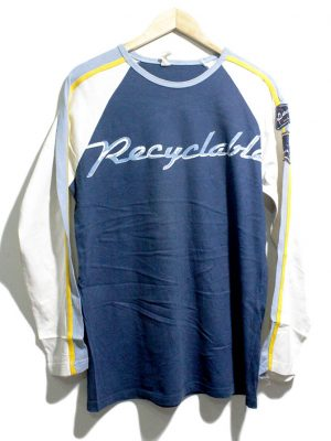 Casual Blue Printed Full Sleeves Original Cotton T-Shirt