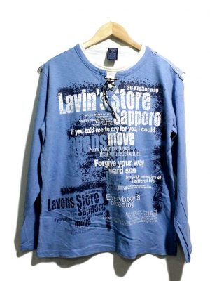 Gagman Jeans Casual Blue Printed Full Sleeves Original Cotton T-Shirt
