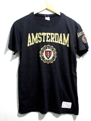 Amsterdam Casual Black Printed Half Sleeves Original Cotton T-Shirt