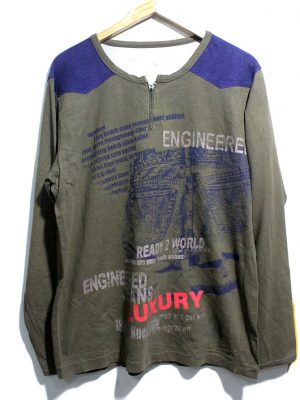 Young People Casual Grey Printed Full Sleeves Original Cotton T-Shirt