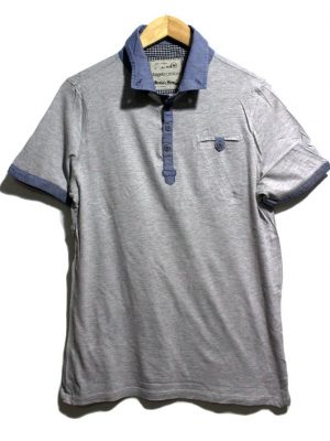 Angelo Litrico Casual Grey Polo Half Sleeves Original Cotton T-Shirt