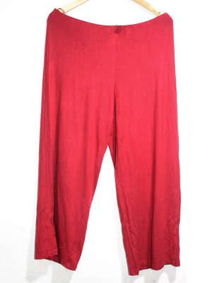 Casual Style Red Plain Trouser For Women
