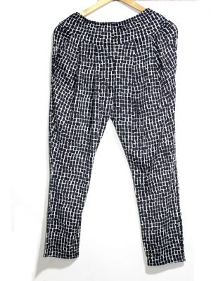 Quinze Trente Casual Style Black Printed Trouser For Women