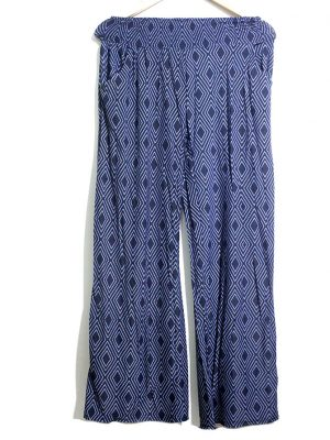 Casual Style Blue Printed Trouser For Women