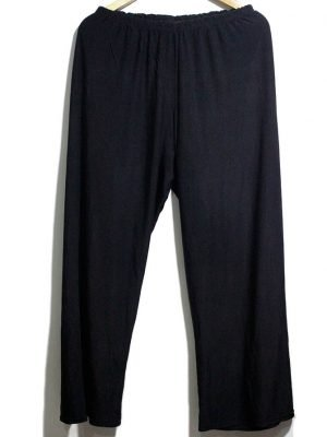 Casual Style Black Plain Trouser For Women
