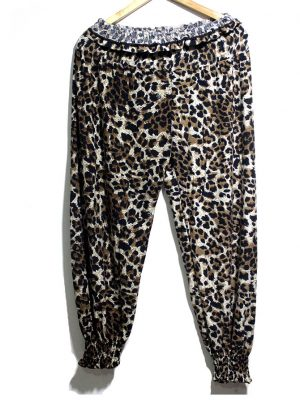 Casual Style Black Printed Trouser For Women