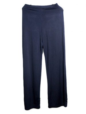 Casual Style Blue Plain Trouser For Women