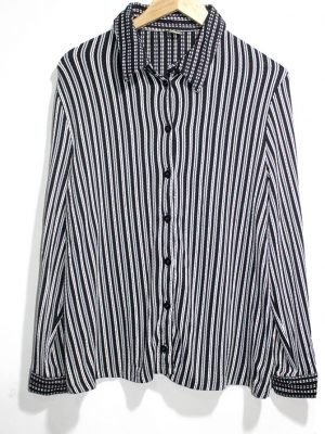 Casual Black Strips Full Sleeves Original Cotton Shirt