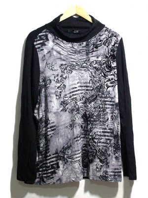 Bonita Casual Black Printed Full Sleeves Original Cotton TankTop T-Shirt