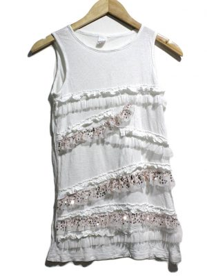 LCW Teen Casual White Fabric Design SleevesLess Original Cotton TankTop T-Shirt