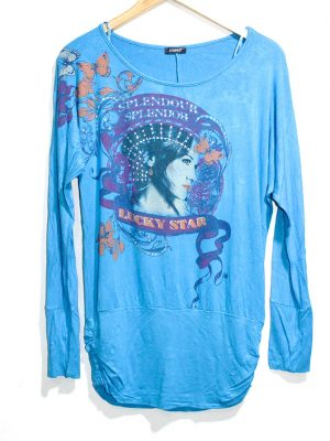 Sabra Casual SkyBlue Printed Full Sleeves Original Cotton TankTop T-Shirt