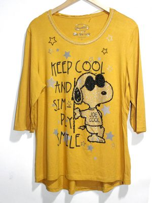 Canda Casual Yellow Printed Half Sleeves Original Cotton TankTop T-Shirt