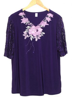 Casual Purple Fabric Design SleevesLess Original Jersey Blouse
