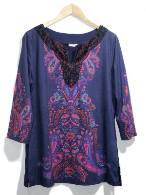 Laura T Collection Casual Multicolor Printed Original Jersey Top-Blouse