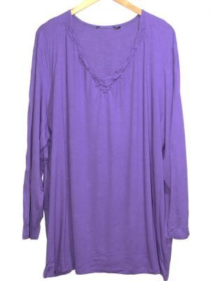 Rainbow Collection Casual Purple Plain Original Jersey Top-Blouse