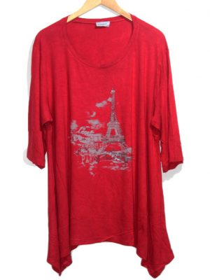 MagMara Young Style Red Printed Half Slevees Original Jersey Top-Blouse