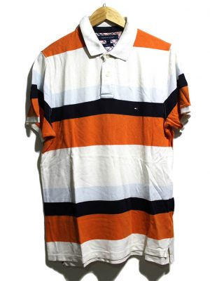 Tommy Hilfiger Casual MultiColor Strips Polo Half Sleeves Original Cotton T-Shirt