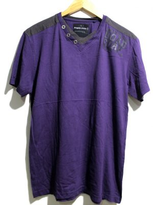Angelo Litrico Casual Purple Printed Half Sleeves Original Cotton T-Shirt