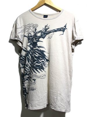55DSL Casual White Printed Half Sleeves Original Cotton T-Shirt