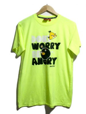 ANGRY BIRDS Casual Green Printed Half Sleeves Original Cotton T-Shirt