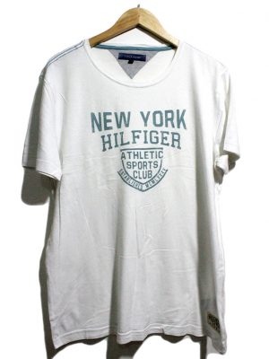 TOMMY HILFIGER Casual White Printed Half Sleeves Original Cotton T-Shirt