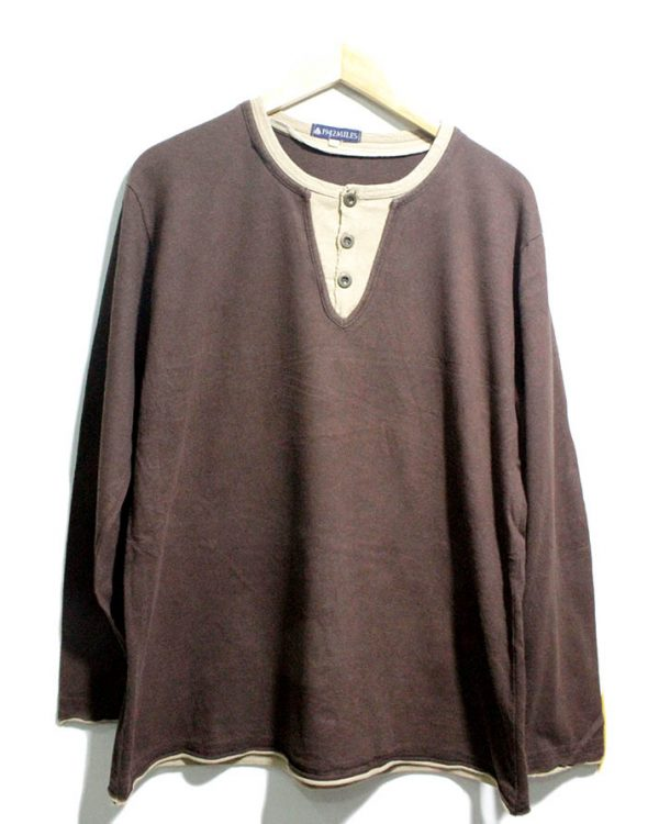 1942MILES Casual Brown Printed Full Sleeves Original Cotton T-Shirt